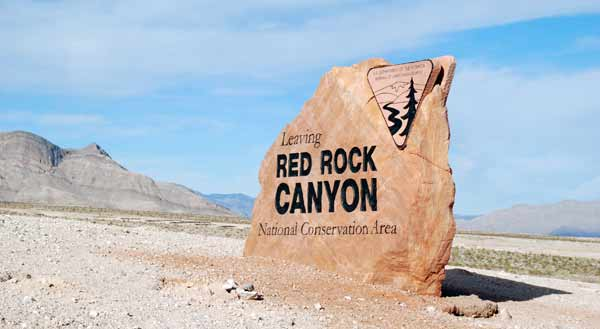 The Red Rock Canyon National Conservation Area sign