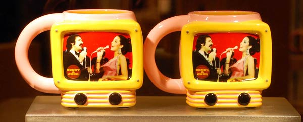 Sonny and Cher tv shaped mugs at Caesars Palace, Las Vegas