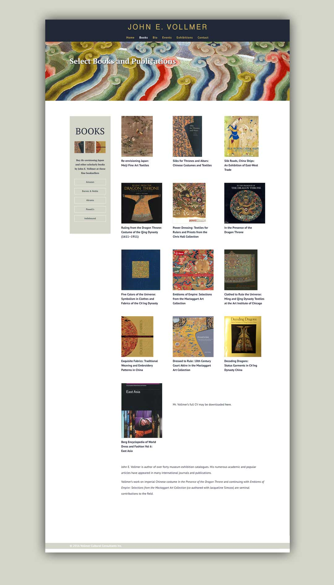 John Vollmer books portfolio page sample